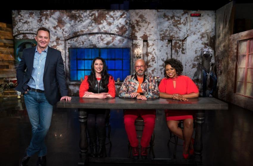Host Clinton Kelly with judges Gesine Prado, Jason Smith and Jamika Pessoa, as seen on Haunted Gingerbread Showdown, Season 2.