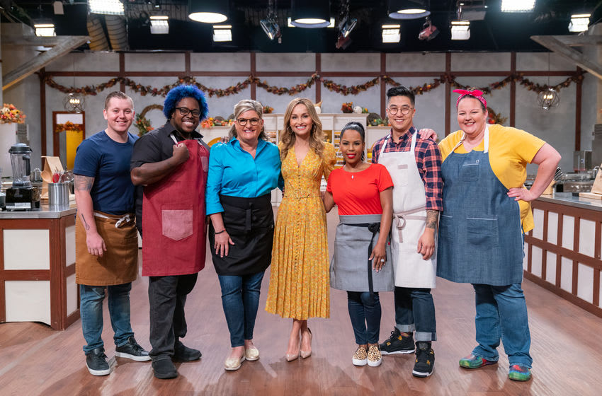 Host Giada DeLaurentiis with contestants Eric Howard, Christian Gill, Jennifer Brulé, Kelli Ferrell, Robin Song, and Mary Bass, as seen on Ultimate Thanksgiving Challenge, Season 2.. photo provided by Food Network