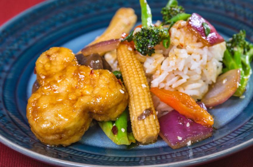 This orange tempeh dish can be found at Disney California Adventure Park as Disneyland Resort celebrates the Year of the Mouse this Lunar New Year, Jan. 17 through Feb. 9, 2020. (David/Nguyen Disneyland Resort)