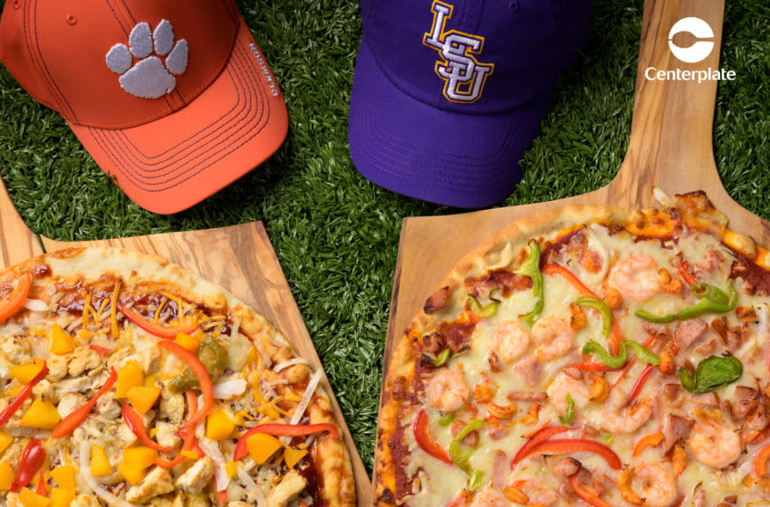 College Football Championship game food choices, Team inspired pizzas, photo Matthew Noel for Centerplate
