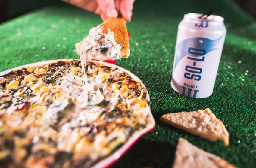 Fresh Spinach-Artichoke Dip paired with Goose Island So-Lo IPA, photo provided by Goose Island