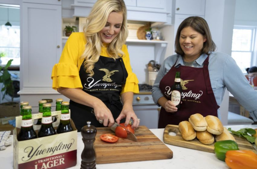 Celebrity chef Kelsey Barnard Clark and Sheryl Yuengling, 6th generation family member and graduate of the Pennsylvania School of Culinary Arts, cook up recipes featuring the bold flavors of Yuengling's iconic beers. photo provided by Yuengling