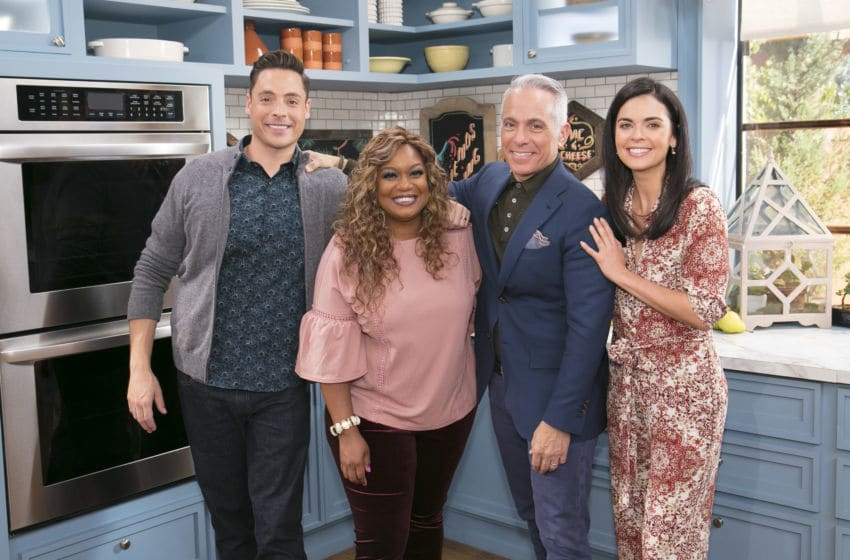 Co-Hosts Jeff Mauro (L), Sunny Anderson, Geoffrey Zakarian, and Katie Lee as seen on The Kitchen, Season 15.