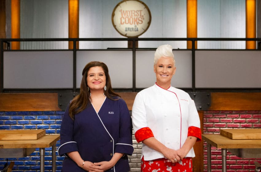 Mentors Alex Guarnaschelli and Anne Burrell pose together, as seen on Worst Cooks in America, Season 20. photo provided by Food Network