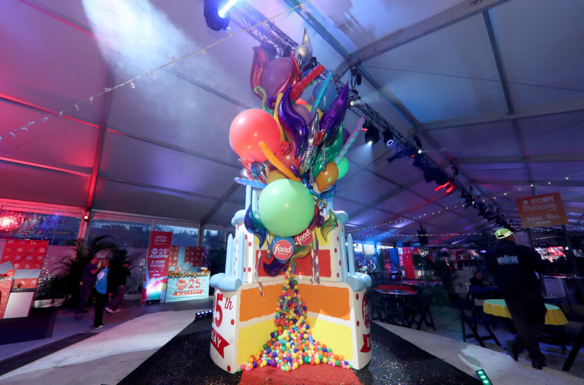 NEW YORK, NY - OCTOBER 13: A giant birthday cake on display during the Food Network's rooftop birthday party hosted by Alton Brown, Giada De Laurentiis, Bobby Flay and Ina Garten at Pier 92 on October 13, 2018 in New York City. (Photo by Cindy Ord/Getty Images for NYCWFF)