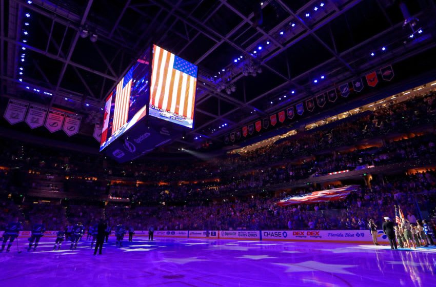 TAMPA, FLORIDA - DECEMBER 17: A general view of Amalie Arena during a game between the Tampa Bay Lightning and the Ottawa Senators at on December 17, 2019 in Tampa, Florida. (Photo by Mike Ehrmann/Getty Images)