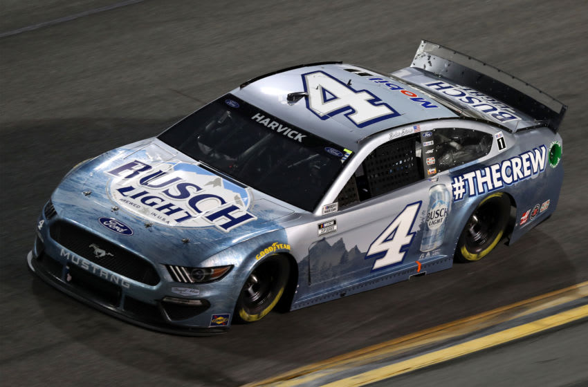 DAYTONA BEACH, FLORIDA - FEBRUARY 14: Kevin Harvick, driver of the #4 Busch Light #TheCrew Ford, drives during the NASCAR Cup Series 63rd Annual Daytona 500 at Daytona International Speedway on February 14, 2021 in Daytona Beach, Florida. (Photo by James Gilbert/Getty Images)