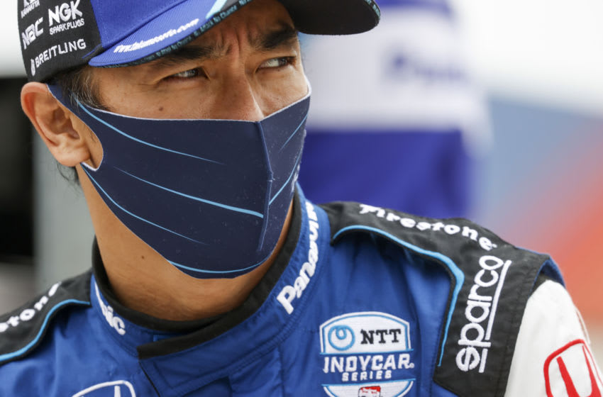 FORT WORTH, TEXAS - MAY 01: Takuma Sato of Japan, driver of the #30 Panasonic/Mi-Jack Rahal Letterman Lanigan Racing Honda, prepares to drive during practice for the NTT IndyCar Series Genesys 300 and XPEL 375 at Texas Motor Speedway on May 01, 2021 in Fort Worth, Texas. (Photo by Chris Graythen/Getty Images)