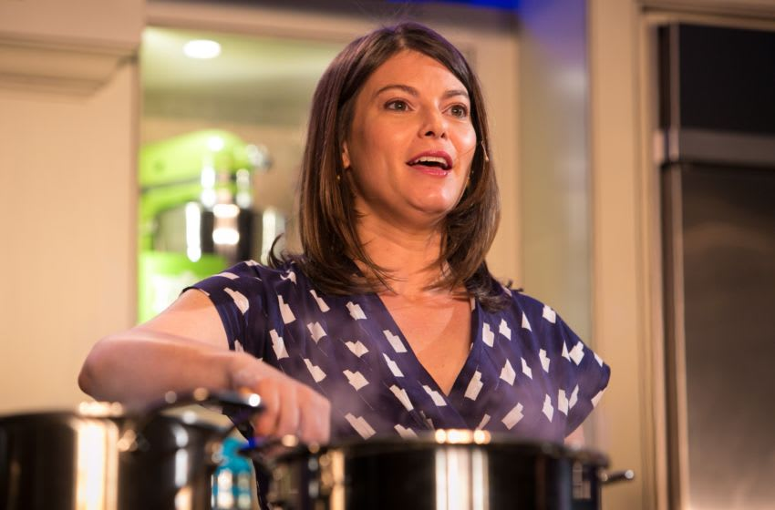 ASPEN, CO - JUNE 14: TV personality and Bravo Top Chef judge, Gail Simmons, conducts a cooking demonstration on June 14, 2013, in Aspen, Colorado. The 31st Annual Food & Wine Classic brings together the world's top chefs and vintners in a culinary and beverage celebration. (Photo by George Rose/Getty Images)