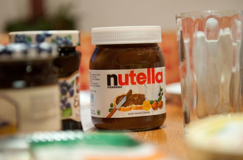 A picture taken on January 8, 2014 shows a pot of Italian hazelnut and cocoa spread