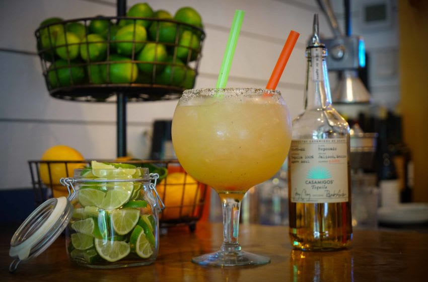The new BarRoja opened at the former home of Scratch Magoo's in Wilmington has a Jorge, a jumbo 53-ounce $46 margarita made with Casamigos Reposado tequila, fresh lime, agave syrup with a salt and pepper rim.Wil Margarita