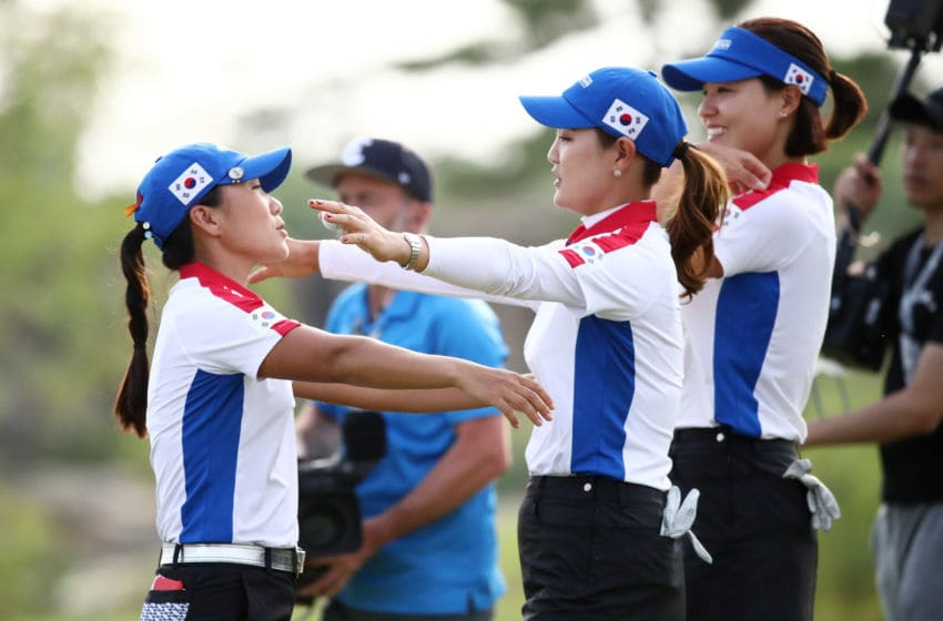 (L to R) In-Kyung Kim, So Yeon Ryu and In Gee Chun of South Korea celebrate on the 18th green after the Pool A match between South Korea and Chinese Taipei on day one of the UL International Crown at Jack Nicklaus Golf Club on October 4, 2018 in Incheon, South Korea. (Photo by Chung Sung-Jun/Getty Images)