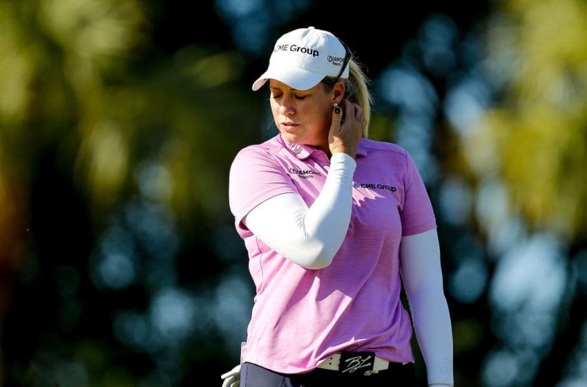 Brittany Lincicome reacts after missing a putt on the 15th green during the third round of the LPGA CME Group Tour Championship at Tiburon Golf Club on November 17, 2018 in Naples, Florida. (Photo by Michael Reaves/Getty Images)