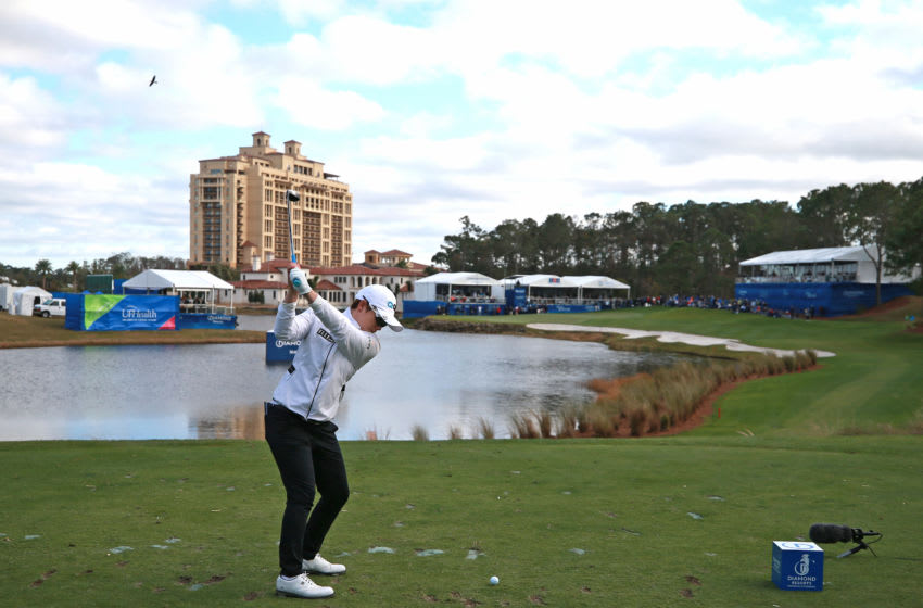Eun-Hee Ji of South Korea hits her tee shot on the 18th hole the Diamond Resorts Tournament of Champions at Tranquilo Golf Course at Four Seasons Golf and Sports Club Orlando on January 20, 2019 in Lake Buena Vista, Florida. (Photo by Matt Sullivan/Getty Images)