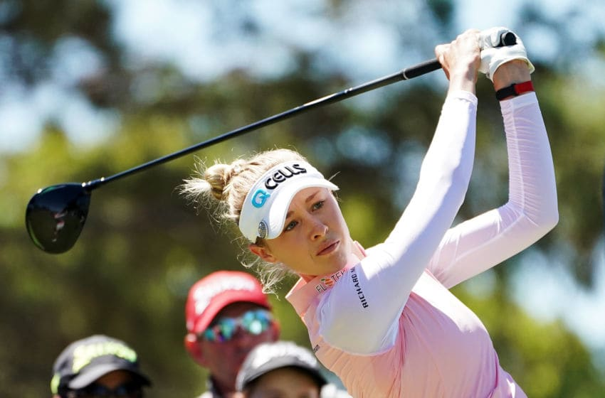 Nelly Korda of the United States plays a shot during day three of the 2019 ISPS Handa Women's Australian Open at The Grange GC on February 16, 2019 in Adelaide, Australia. (Photo by Daniel Kalisz/Getty Images)
