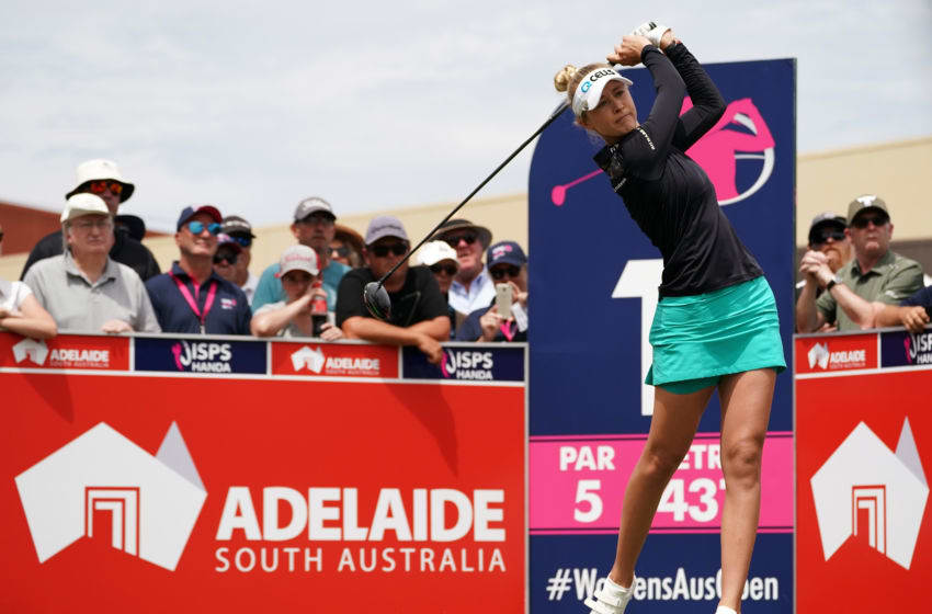Nelly Korda of the United States tees off during day four of the 2019 ISPS Handa Women's Australian Open at The Grange GC on February 17, 2019 in Adelaide, Australia. (Photo by Daniel Kalisz/Getty Images)