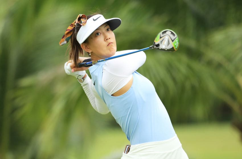 Michelle Wie of United States plays her shot from the second tee during the first round of the HSBC Women's World Championship at Sentosa Golf Club on February 28, 2019 in Singapore. (Photo by Andrew Redington/Getty Images)