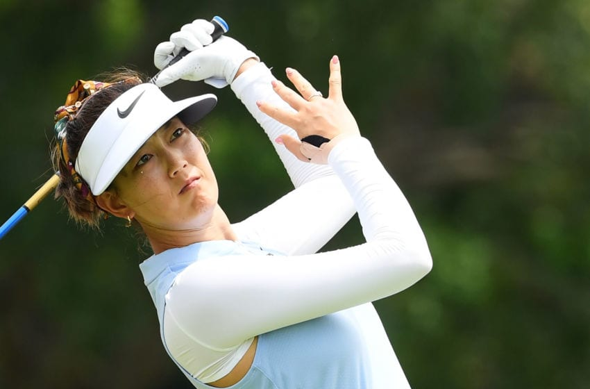 Michelle Wie of United States plays her shot from the 14th tee during the first round of the HSBC Women's World Championship at Sentosa Golf Club on February 28, 2019 in Singapore. (Photo by Ross Kinnaird/Getty Images)