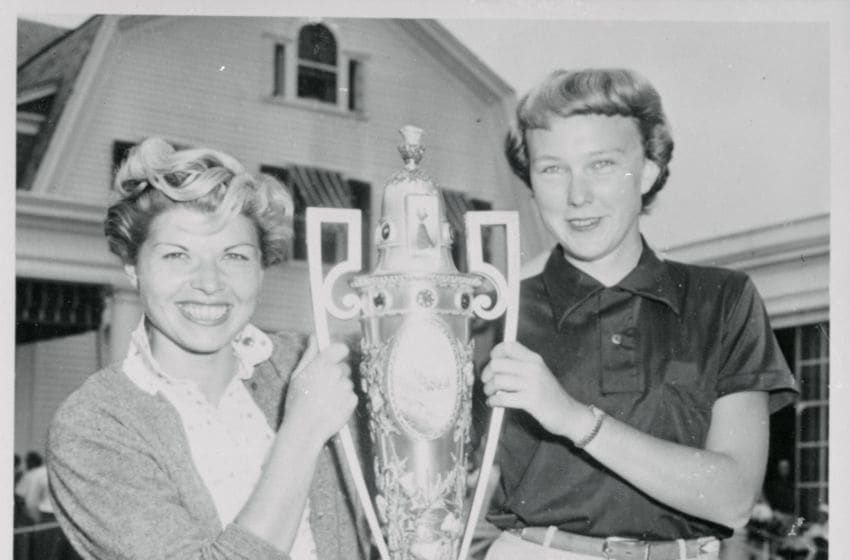 Barbara Romack (left), 21, of Sacramento, California, and Mickey Wright, 19, from San Diego. They are among the most youthful to progress so far in the annual tournament.