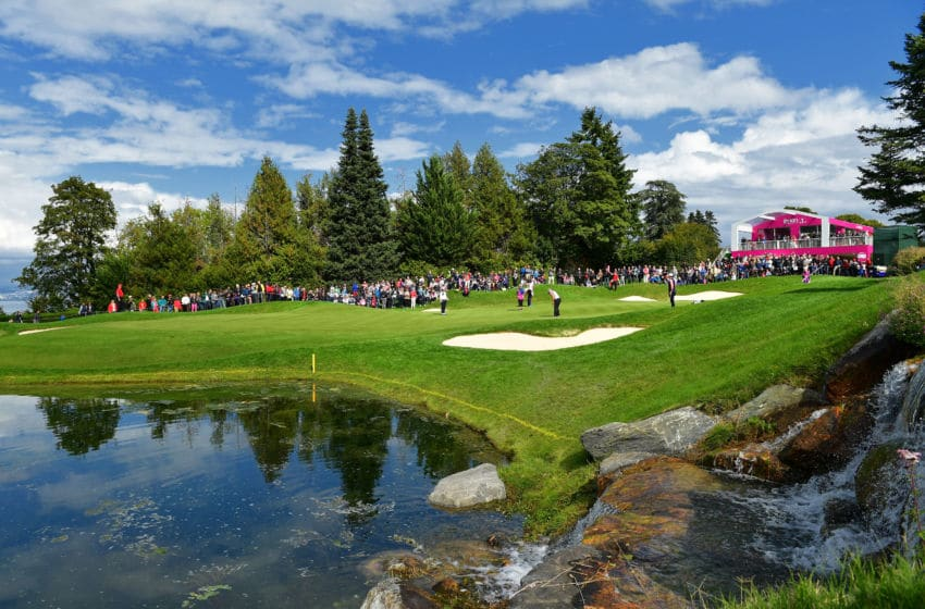 A general view of the fifth hole during the second round of The Evian Championship 2017 at Evian Resort Golf Club on September 16, 2017 in Evian-les-Bains, France. (Photo by Stuart Franklin/Getty Images)