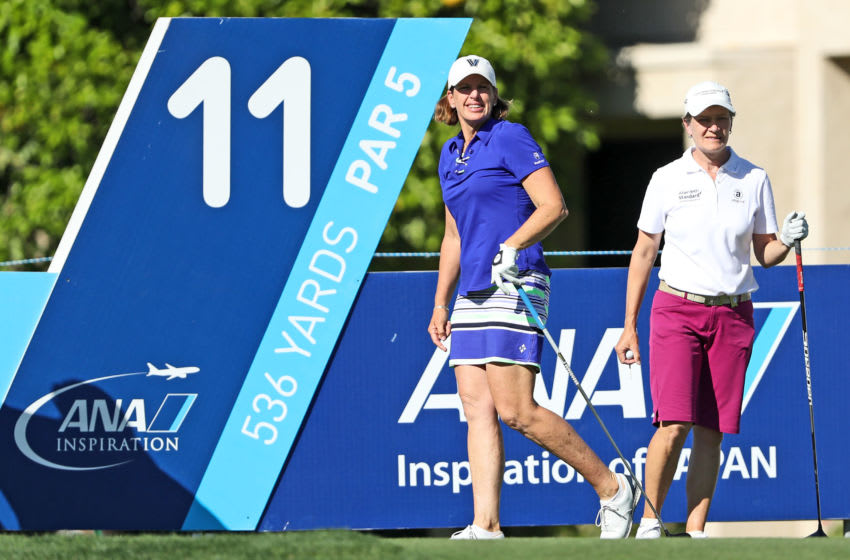 Juli Inkster (L) of the United States and Catriona Matthew of Scotland the 2019 Solheim Cup Captains on the tee at the par 4, tenth hole during the first round of the 2018 ANA Inspiration on the Dinah Shore Tournament Course at Mission Hills Country Club on March 29, 2018 in Rancho Mirage, California. (Photo by David Cannon/Getty Images)