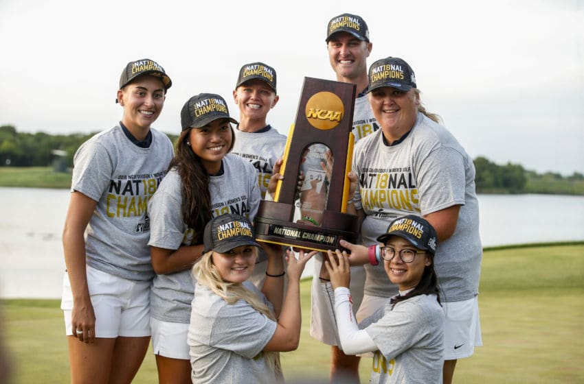 The Arizona Women's Golf team poses with the National Championship trophy during the Division I Women's Golf Team Match Play Championship held at the Karsten Creek Golf Club on May 23, 2018 in Stillwater, Oklahoma. (Photo by Shane Bevel/NCAA Photos via Getty Images)