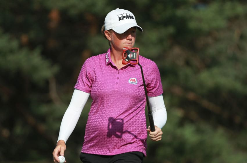 Stacy Lewis walks off the second green during the final round of the KPMG Women's PGA Championship at Kemper Lakes Golf Club on July 1, 2018 in Kildeer, Illinois. (Photo by Scott Halleran/Getty Images for KPMG)