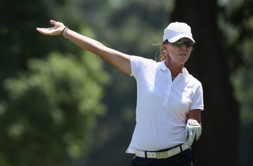 Helen Alfredsson of Sweden reacts to her tee shot at the U.S. Senior Women's Open. (Photo by Christian Petersen/Getty Images)