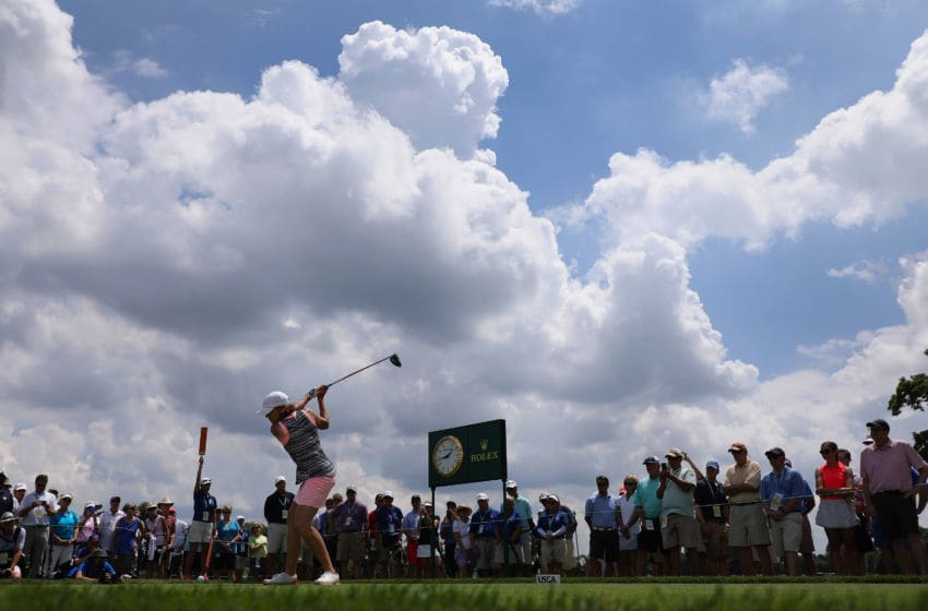 Juli Inkster plays a tee shot on the 18th hole during the final round of the U.S. Senior Women's Open at Chicago Golf Club on July 15, 2018 in Wheaton, Illinois. (Photo by Christian Petersen/Getty Images)