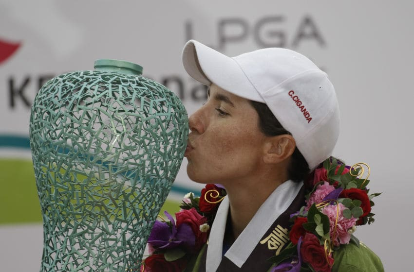 Carlota Ciganda of Spain after winning 20167 LPGA KEB HANA Bank Championship. (Photo by Seung-il Ryu/NurPhoto via Getty Images)