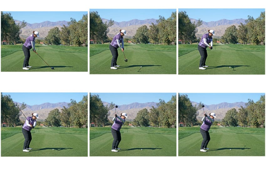 Composite image of swing sequnce available as individual images: Shanshan Feng of China the current Rolex World No 1 player hits a driver from the third tee (frame no 1 of swing sequence) as a preview for the 2018 ANA Inspiration on the Dinah Shore Tournament Course at Mission Hills Country Club on March 28, 2018 in Rancho Mirage, California. (Photo by David Cannon/Getty Images)