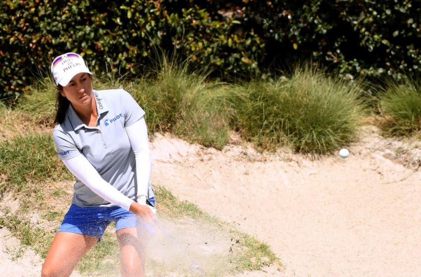 Marina Alex hits out of a bunker at the Wilshire Country Club in Los Angeles, California. (Photo by Harry How/Getty Images)
