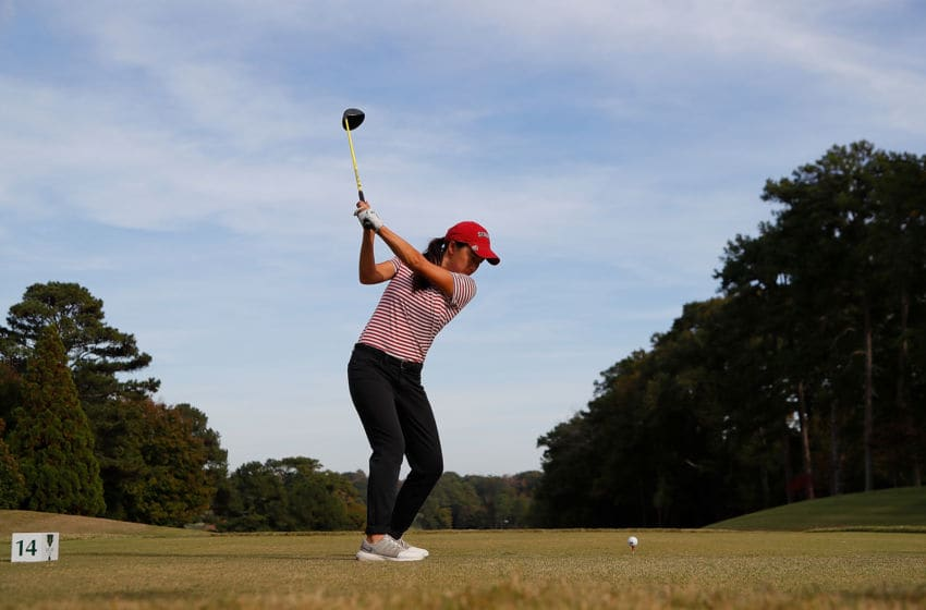 ATLANTA, GA - OCTOBER 31: Mika Liu of the Stanford Cardinal tees off the 14th hole during day three of the 2018 East Lake Cup at East Lake Golf Club on October 31, 2018 in Atlanta, Georgia. (Photo by Kevin C. Cox/Getty Images)