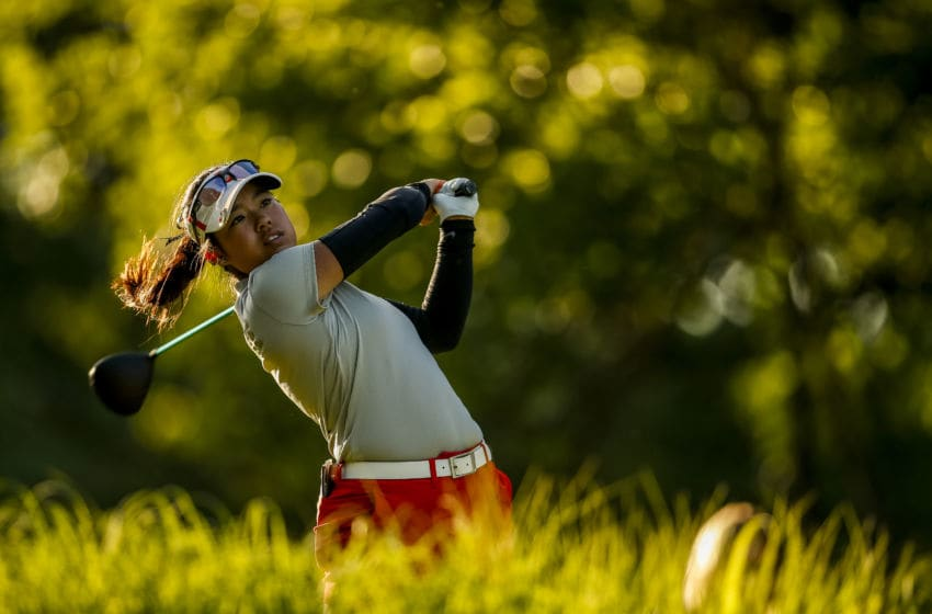 Jaclyn Lee of Ohio State tees off on the 18th hole during the Division I Women's Golf Individual Championship held at the Karsten Creek Golf Club on May 21, 2018 in Stillwater, Oklahoma. (Photo by Shane Bevel/NCAA Photos via Getty Images)
