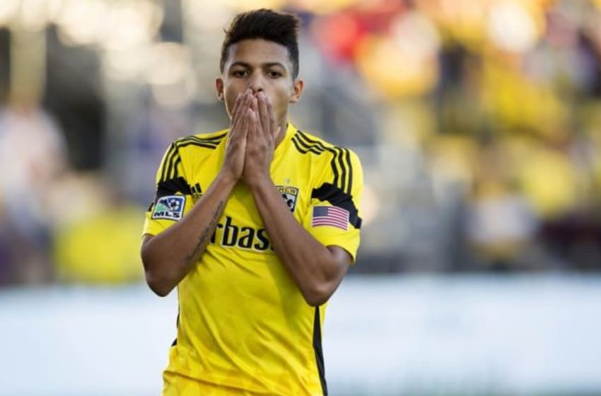 Oct 26, 2014; Columbus, OH, USA; Columbus Crew midfielder Romain Gall (25) reacts during second half action versus the Philadelphia Union at Crew Stadium. The Crew won the match 2-1. Mandatory Credit: Joe Maiorana-USA TODAY Sports