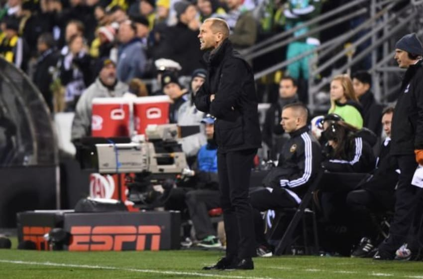 Dec 6, 2015; Columbus, OH, USA; Columbus Crew head coach Gregg Berhalter instructs against the Portland Timbers during the second half in the 2015 MLS Cup championship game at MAPFRE Stadium. Mandatory Credit: Mike DiNovo-USA TODAY Sports