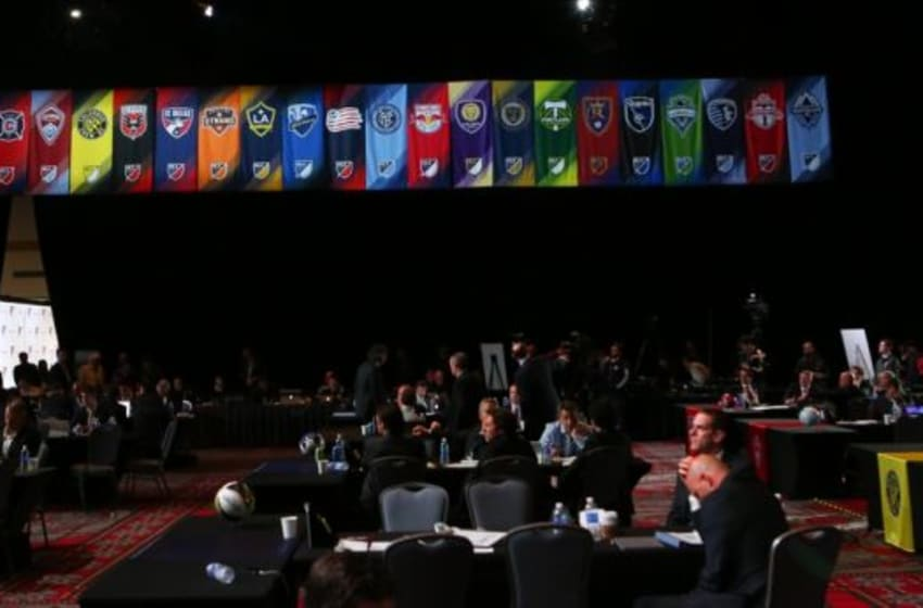 Jan 15, 2015; Philadelphia, PA, USA; Banners from the MLS teams hang above the 2015 MLS SuperDraft at Philadelphia Convention Center. Mandatory Credit: Bill Streicher-USA TODAY Sports