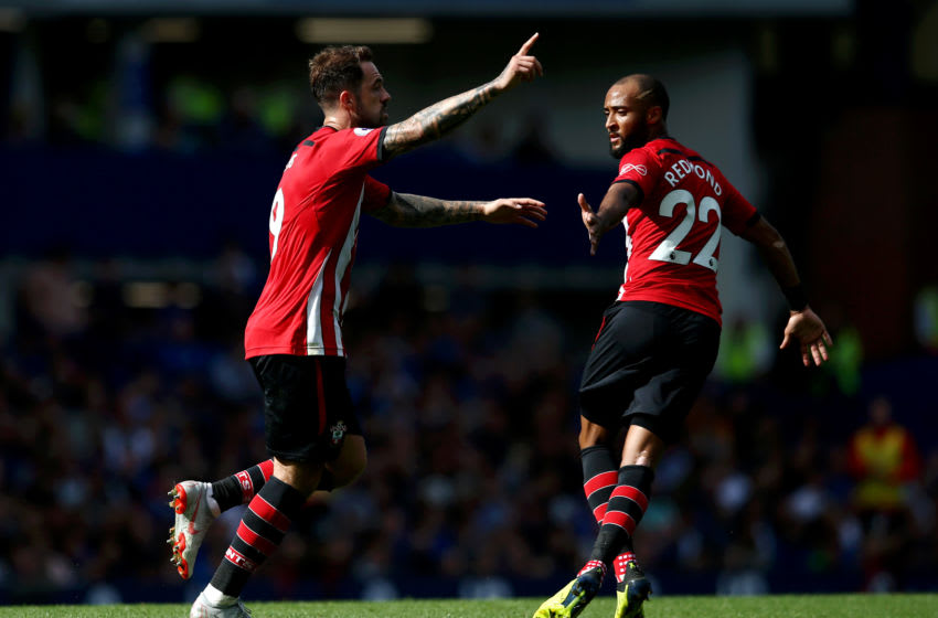LIVERPOOL, ENGLAND - AUGUST 18: Danny Ings of Southampton celebrates after scoring his team's first goal with team mate Nathan Redmond during the Premier League match between Everton FC and Southampton FC at Goodison Park on August 18, 2018 in Liverpool, United Kingdom. (Photo by Jan Kruger/Getty Images)
