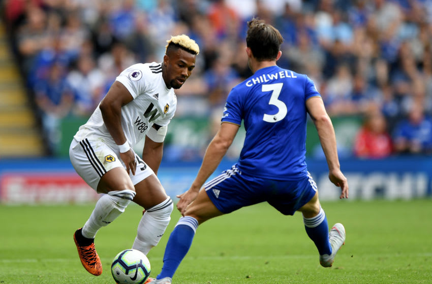 LEICESTER, ENGLAND - AUGUST 18: Adama Traore of Wolverhampton Wanderers and Ben Chilwell of Leicester City during the Premier League match between Leicester City and Wolverhampton Wanderers at The King Power Stadium on August 18, 2018 in Leicester, United Kingdom. (Photo by Sam Bagnall - AMA/Getty Images)