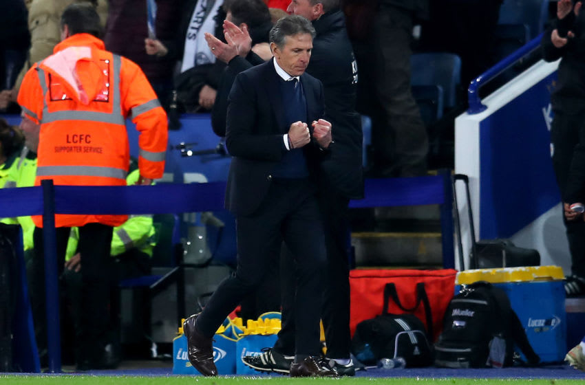 LEICESTER, ENGLAND - DECEMBER 26: Claude Puel, Manager of Leicester City celebrates his sides second goal during the Premier League match between Leicester City and Manchester City at The King Power Stadium on December 26, 2018 in Leicester, United Kingdom. (Photo by Catherine Ivill/Getty Images)