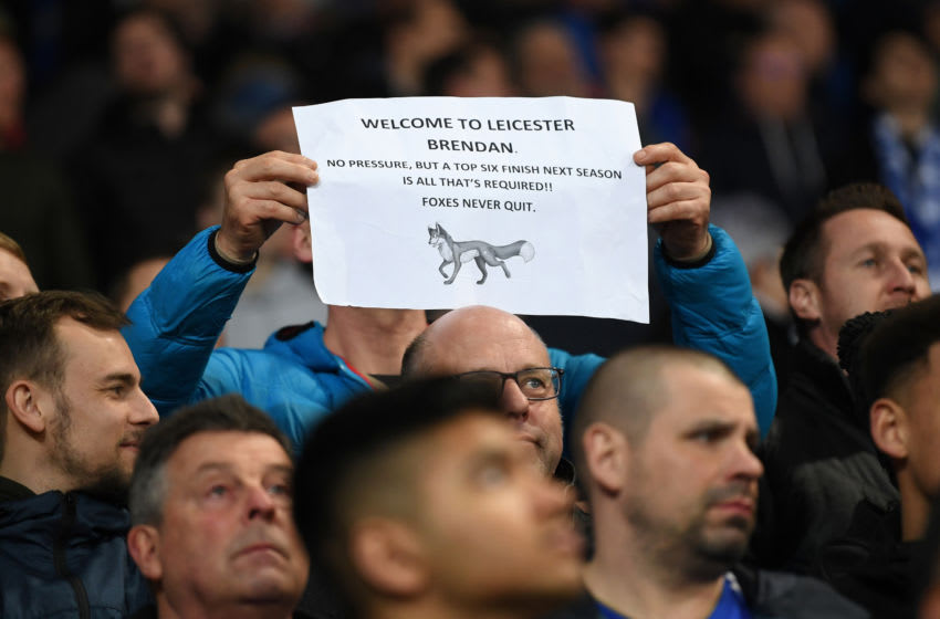LEICESTER, ENGLAND - FEBRUARY 26: A fan holds a sign welcoming new Leicester City manager Brendan Rodgers during the Premier League match between Leicester City and Brighton & Hove Albion at The King Power Stadium on February 26, 2019 in Leicester, United Kingdom. (Photo by Michael Regan/Getty Images)