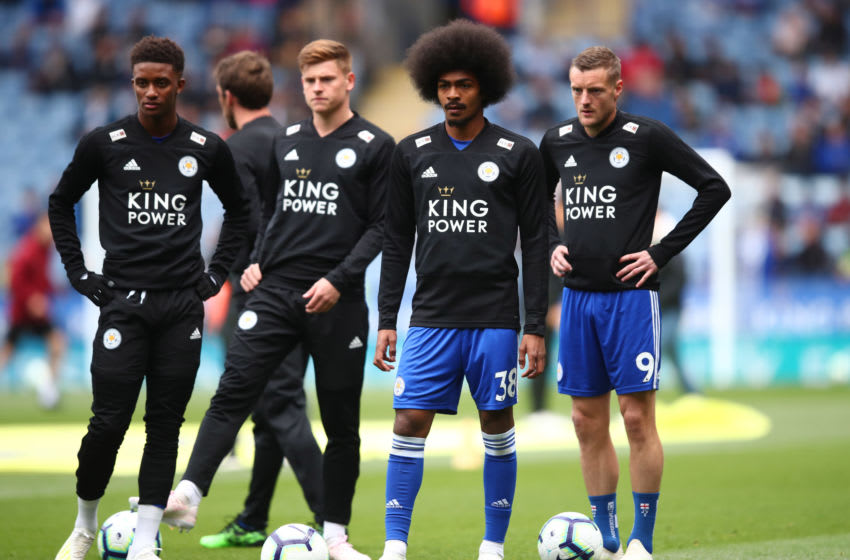 LEICESTER, ENGLAND - APRIL 28: Hamza Choudhury (38) and Jamie Vardy of Leicester City (9) warm up with team mates prior to the Premier League match between Leicester City and Arsenal FC at The King Power Stadium on April 28, 2019 in Leicester, United Kingdom. (Photo by Marc Atkins/Getty Images)