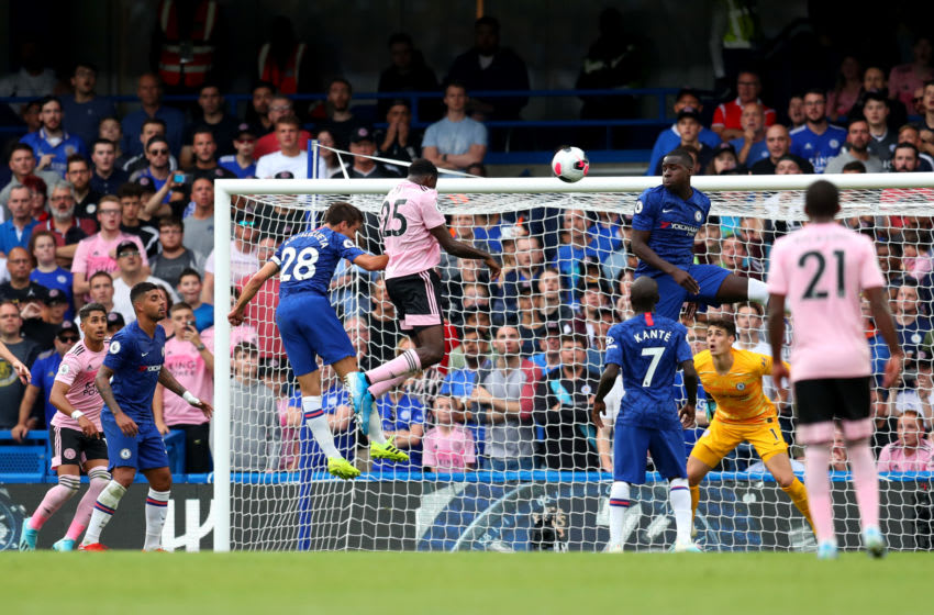 LONDON, ENGLAND - AUGUST 18: Onyinye Wilfred Ndidi of Leicester City scores his team's first goal during the Premier League match between Chelsea FC and Leicester City at Stamford Bridge on August 18, 2019 in London, United Kingdom. (Photo by Catherine Ivill/Getty Images)