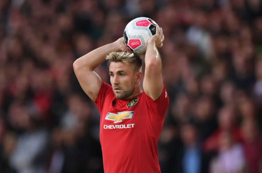 WOLVERHAMPTON, ENGLAND - AUGUST 19: Luke Shaw of Manchester United takes a throw in during the Premier League match between Wolverhampton Wanderers and Manchester United at Molineux on August 19, 2019 in Wolverhampton, United Kingdom. (Photo by Shaun Botterill/Getty Images)