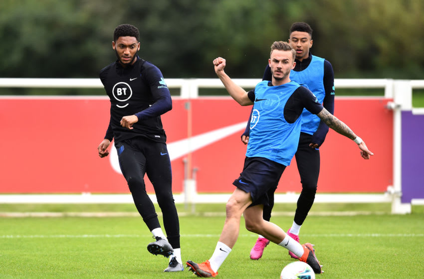 BURTON-UPON-TRENT, ENGLAND - SEPTEMBER 02: Joe Gomez, James Maddison and Jesse Lingard train during an England Media Access day at St Georges Park on September 02, 2019 in Burton-upon-Trent, England. (Photo by Nathan Stirk/Getty Images)