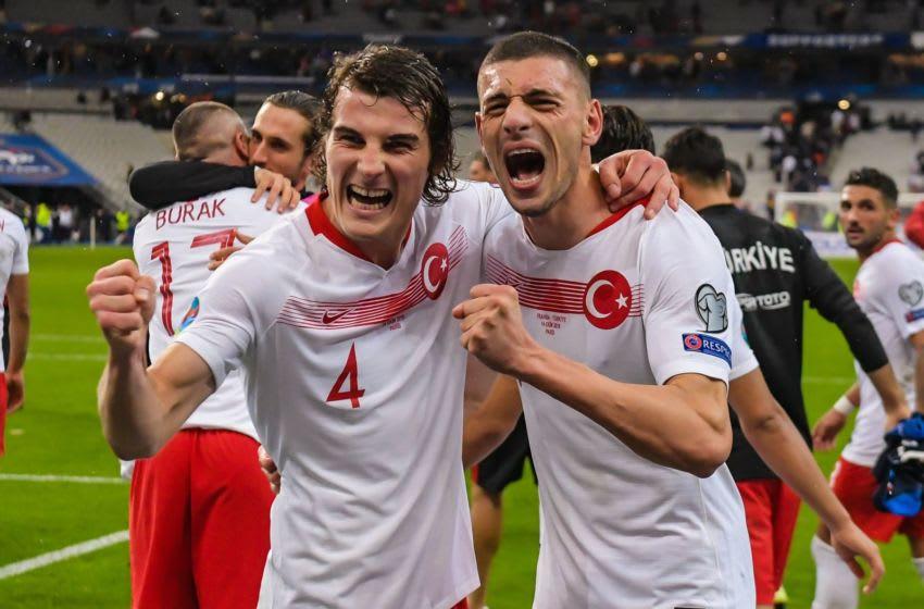 (L-R) Caglar Soyuncu of Turkey, Merih Demiral of Turkey (Photo by ANP Sport via Getty Images)