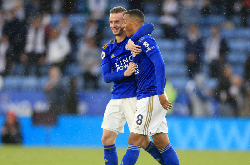 LEICESTER, ENGLAND - OCTOBER 19: James Maddison of Leicester City celebrates victory Youri Tielemans of Leicester City following the Premier League match between Leicester City and Burnley FC at The King Power Stadium on October 19, 2019 in Leicester, United Kingdom. (Photo by Stephen Pond/Getty Images)