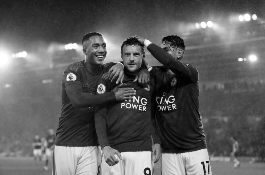 SOUTHAMPTON, ENGLAND - OCTOBER 25: (EDITORS NOTE - This image has been converted to black and white) Jamie Vardy of Leicster City celebrates after scoring his team's fifth goal with Youri Tielemans and Ayoze Perez during the Premier League match between Southampton FC and Leicester City at St Mary's Stadium on October 25, 2019 in Southampton, United Kingdom. (Photo by Naomi Baker/Getty Images)