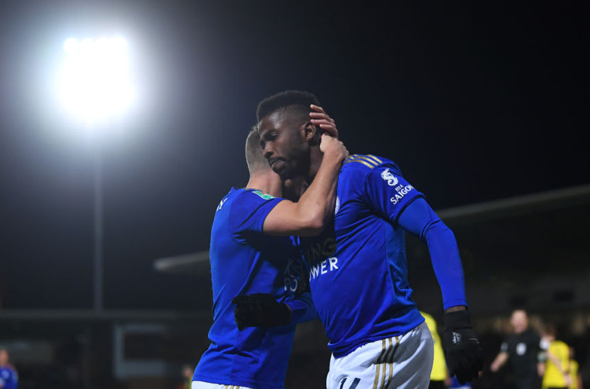 BURTON-UPON-TRENT, ENGLAND - OCTOBER 29: Kelechi Iheanacho of Leicester City celebrates after scoring his team's first goal with Marc Albrighton of Leicester City during the Carabao Cup Round of 16 match between Burton Albion and Leicester City at Pirelli Stadium on October 29, 2019 in Burton-upon-Trent, England. (Photo by Laurence Griffiths/Getty Images)