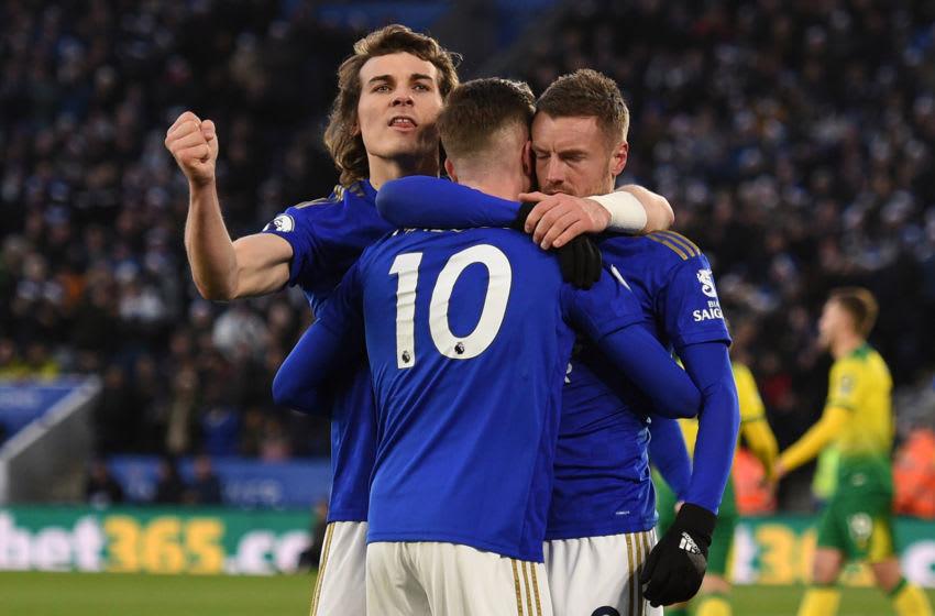 Caglar Soyuncu, James Maddison, Jamie Vardy, Leicester City (Photo by OLI SCARFF/AFP via Getty Images)